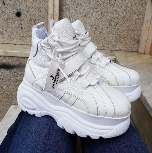 sneakers pelle bianca hollister